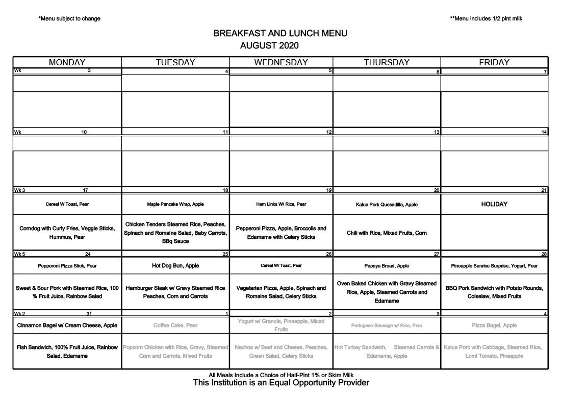 August Menu (Revised 8/3/2020) - Food Menu - Pearl City ...